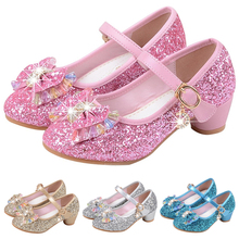 Children Leather Sandals Kids High Heels Girls Princess Summer Shoes Bowknot Glitter Shiny Rhinestone Girl Party Dress Shoes P25 2018 toddler girls princess crystal rhinestone sandals little kid glitter sequin pumps big children pageant dancing dress shoes