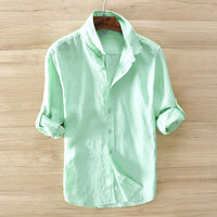 Men Casual Chemise Homme Linen Shirts Men Long Sleeves Blouse Camisas Hombre Turn Down Collar Tops