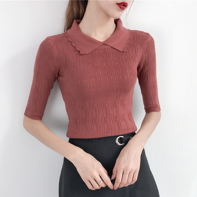 2018 Autumn New Female Short Sleeved Sweater Slim Sleeve Head Korean