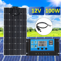 3in1 100 Вт 12 В MC4 Панели солнечные комплект Солнечные энергетические установки костюм 30A ШИМ многофункциональный контроллер 30 см мужчина DC каб...