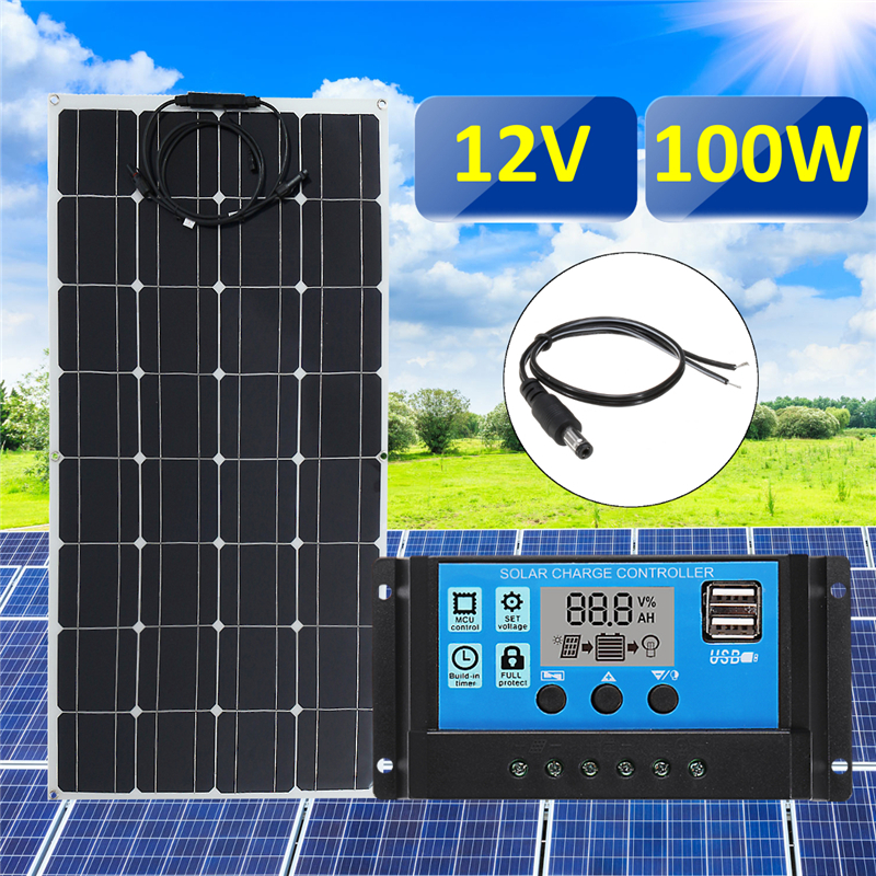цены 3in1 100W 12V MC4 Solar Panel Kit Solar Power System Suit 30A PWM Multifunction Controller 30cm DC Male Cable