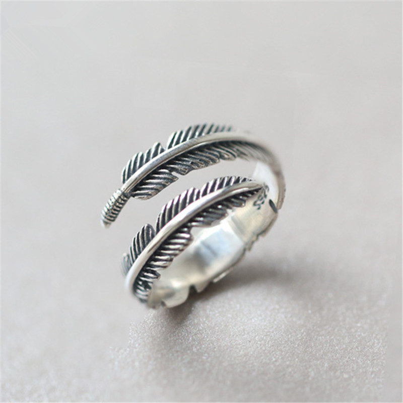Vintage Design 925 Sterling Silver Adjustable Feather Rings For Women Sterling-silver-jewelry Wedding Jewelry  Gift Jz384