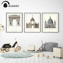 Allenjoy Architecture Poster European Style Famous Buildings Stamps Canvas Painting Vintage Nostalgic Pictures for Study Walls