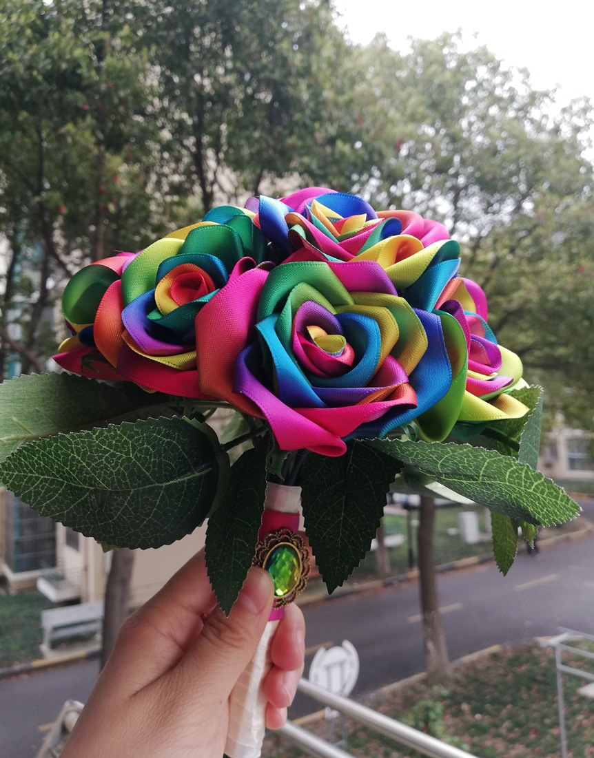 New Handmade Silk Ribbon rose rainbow colour rose flowers wedding flowers de mariage ribbon brooch home