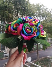 New Handmade Silk Ribbon rose rainbow colour flowers wedding de mariage ribbon brooch home decoration