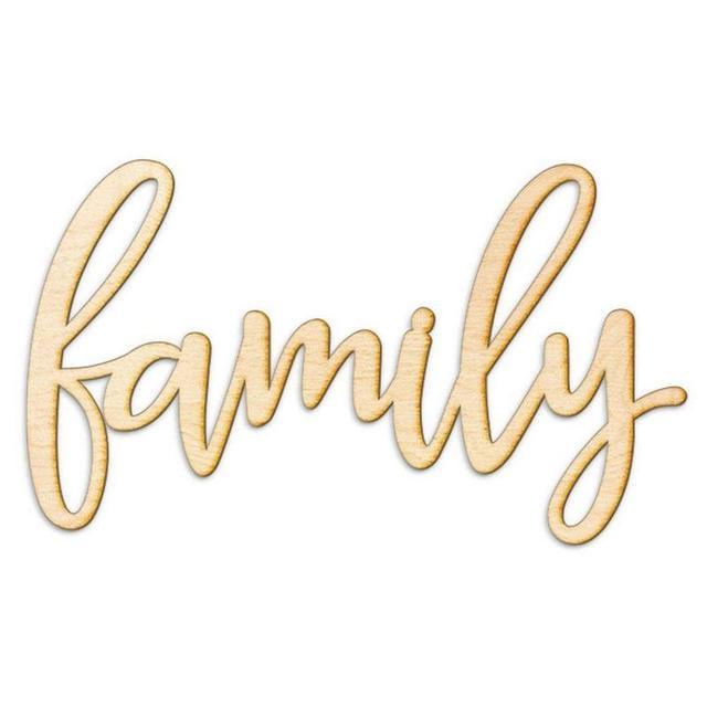 Familia carta patrón de madera colgando signo para la decoración del ...