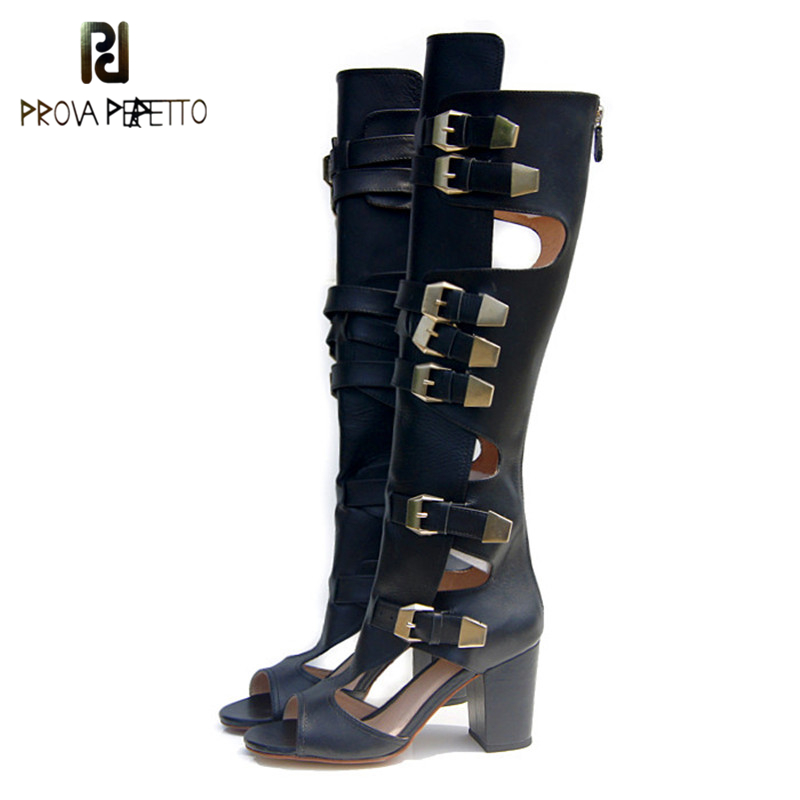 Prova Perfetto New Design Rome Style High heel Sandals Boots Hollow Out Gladiator Over The Knee Sandal Metal Buckle Summer Shoes