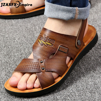 Mens Sandals Summer New Beach Vacation Travel Leather Men Breathable For