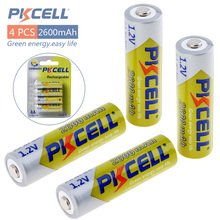 купить 4pcs! Pkcell 2600mAh 1.2V AA Ni-Mh Rechargeable Battery Real High Capacity NiMh Batteries Set With 1000 Cycle for LED Flashlight дешево