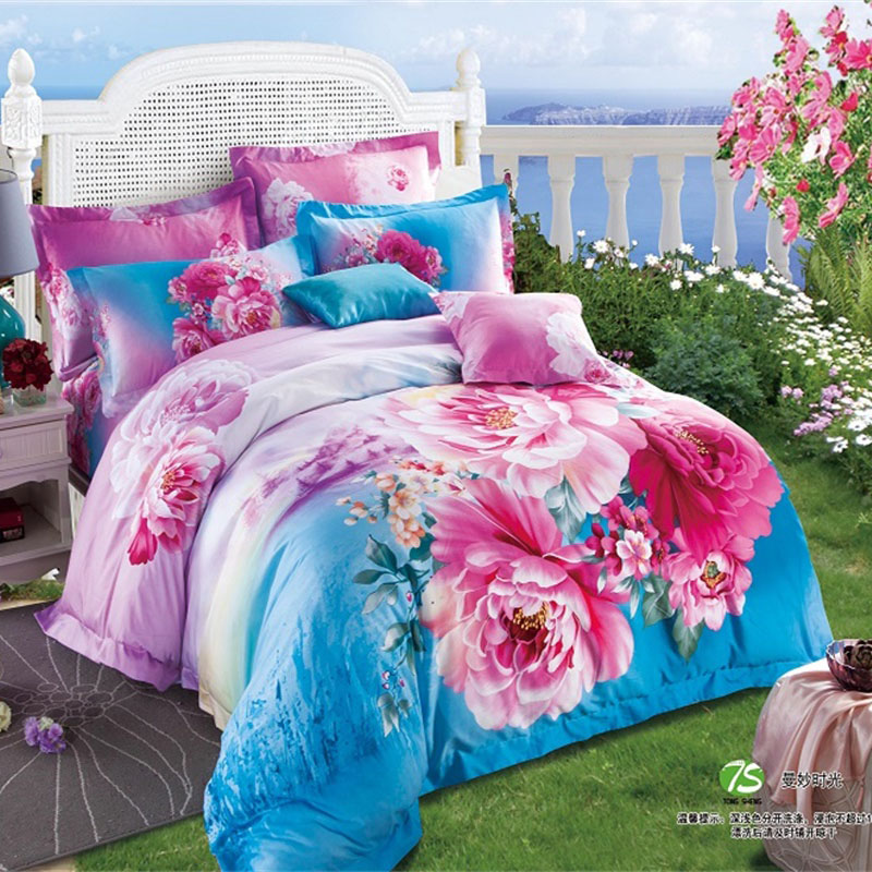 chinese style blue and pink peony 3d bedding set queen size duvet cover pillowcase bed sheets bedroom sets cotton bed in a bag