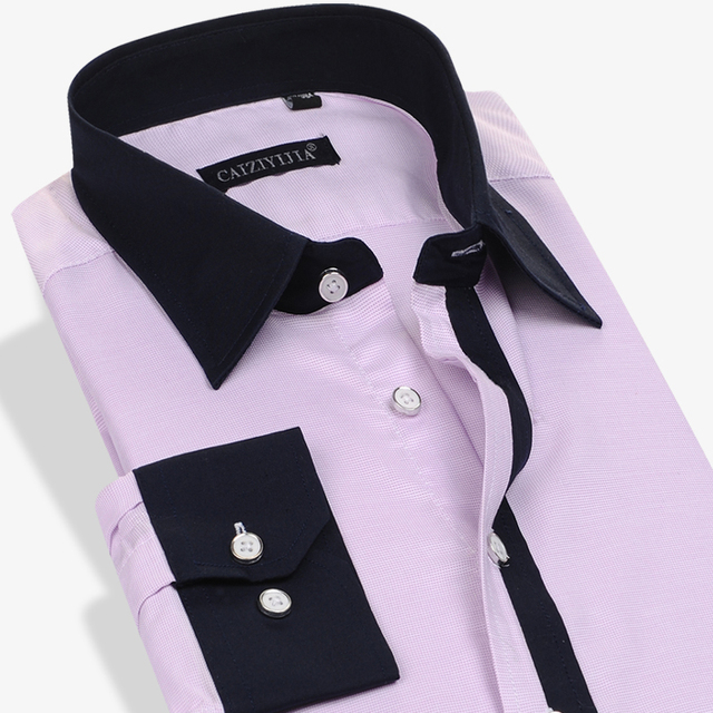 e2df212841a96 Chemise Homme non ironing Dress Shirts Patchwork Men Slim Fit Mens Long  Sleeve 100% Cotton