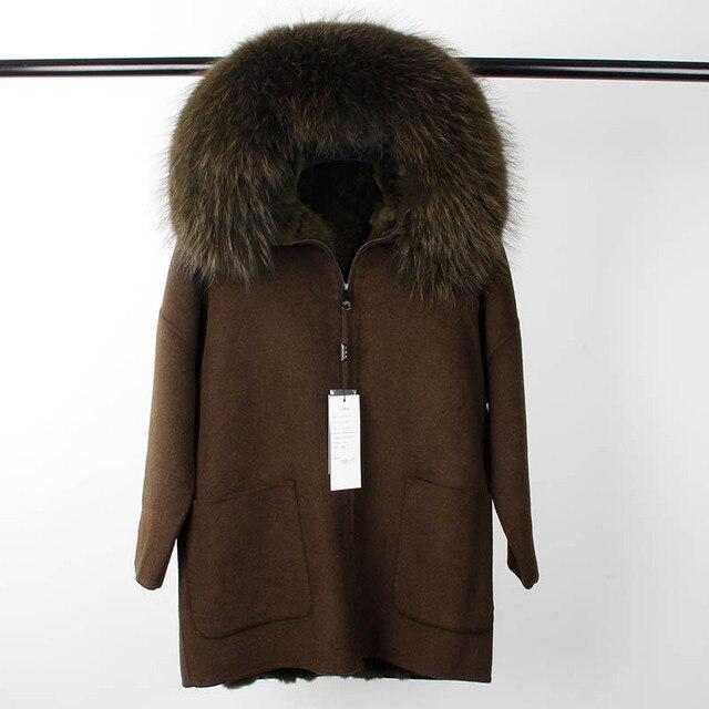 2017 New Winter Parka Wool Cashmere Coat Women Fur Jacket Overcoat Collar Hooded Rex Rabbit Fur liner Top Quality 2