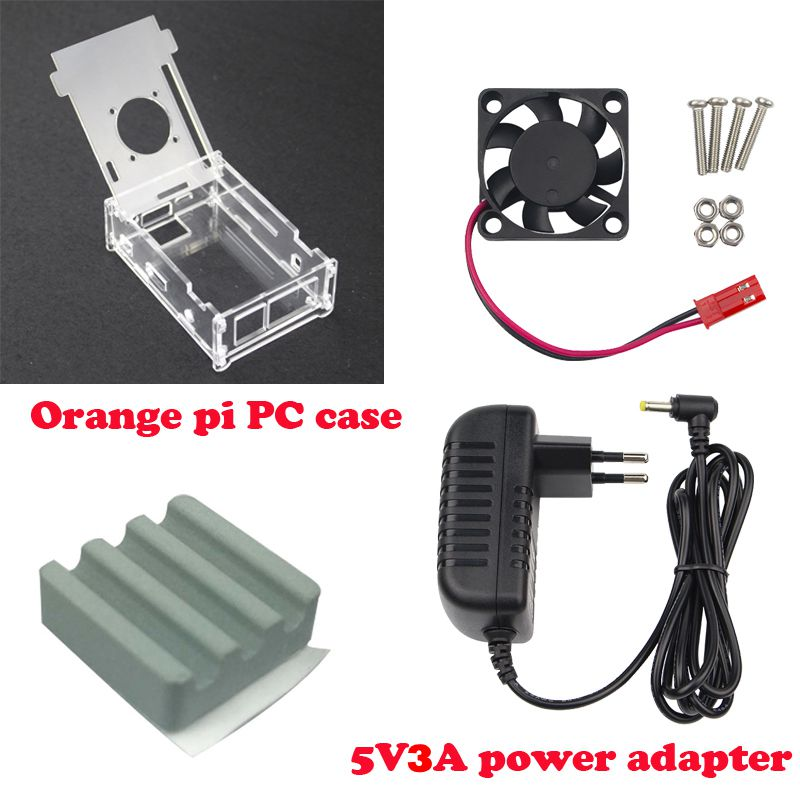 Hot Sale Transparent Acrylic Case For Orange Pi PC+DC 5V 3A Power Charger+Cooling Fan+Ceramic Heat Sink For Orange Pi PC Plus