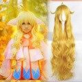 Бесплатная Доставка Full Lace Косплей Парик Синтетического 120 см Желтый Глубокие Волнистые Вьющиеся Парик Специальный Стиль Fairy Tail-мэвис Vermilion