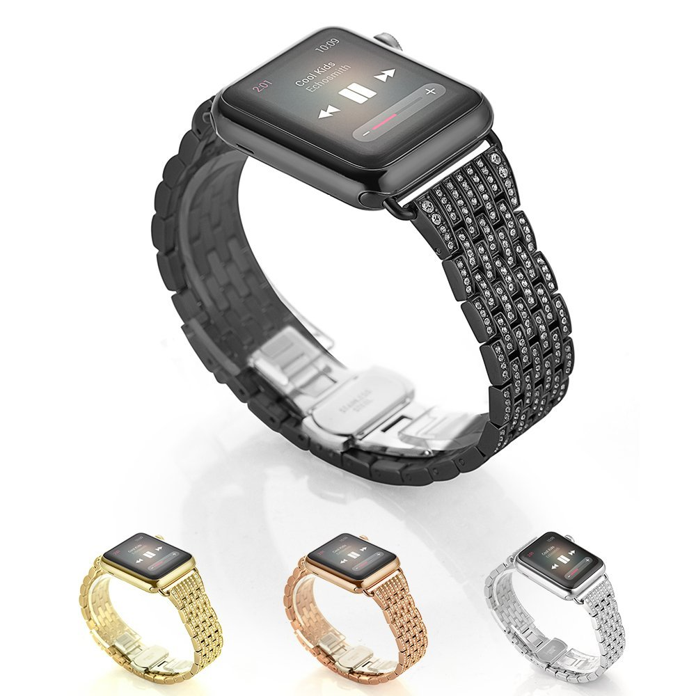 for Apple Watch Band, Alloy Crystal Rhinestone Diamond Watch Band Luksus Rustfritt Stål Armbånd Rem Watch Bands
