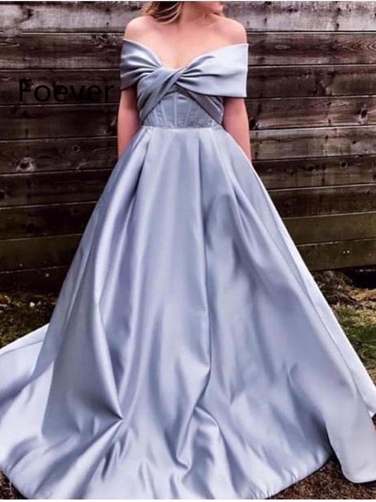 New Arrival V Neck Simple evening dresses Long 2019 Off the shoulder evening gowns Robe de soiree musulman Formal dress