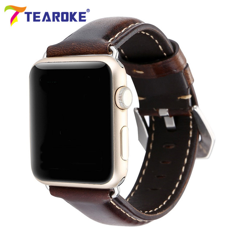 TEAROKE Retro Dark Brown Leather Watchband for Apple Watch 1 2 3 38mm 42mm Crocodile Pattern Replacement Strap Band for Panerai eache 38mm 42mm dark brown replacement watch straps fit for apple watch vegetable tanned leather watch band for women or man