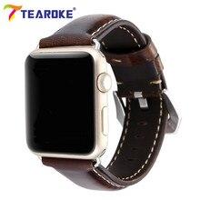 TEAROKE Retro Dark Brown Leather Watchband for Apple Watch 1 2 3 38mm 42mm Crocodile Pattern