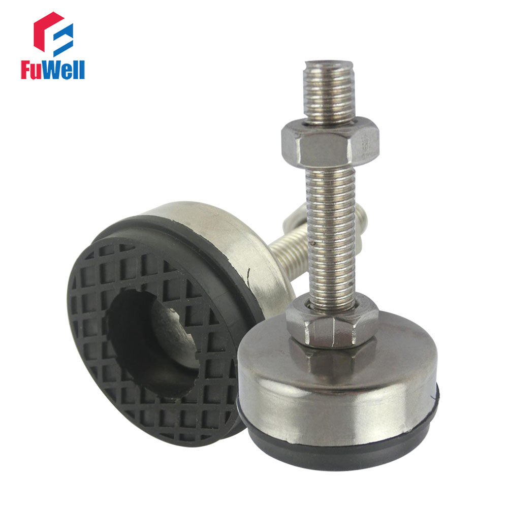 2pcs M16 M18 M20 Thread Adjustable Foot Cups 85mm Diameter 304Stainless Non skid Base 150mm Length