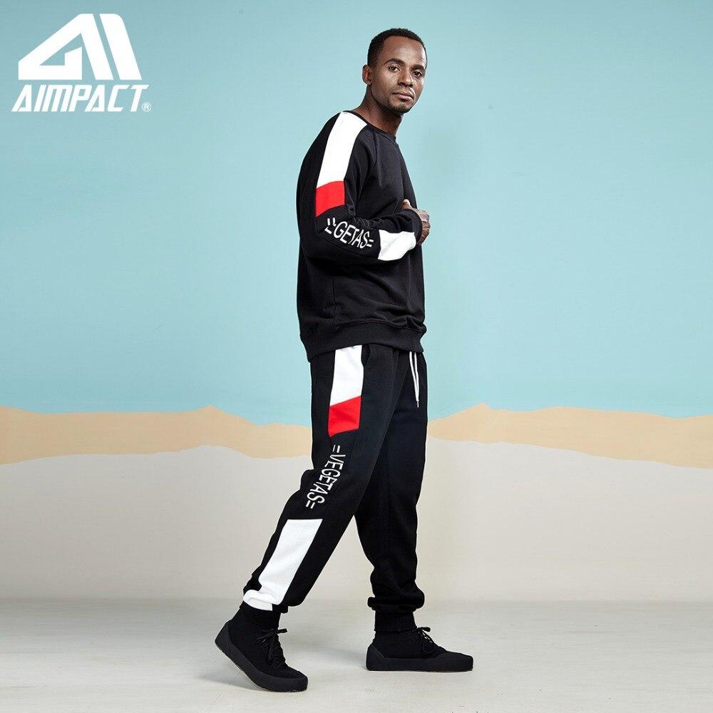패션 힙합 풀오버 및 바지 세트 활성 streetwear tracksuit 세트 스포티 한 조깅 스웻 셔츠 스웨트 세트 aimpact-에서남성용 세트부터 남성 의류 의  그룹 2