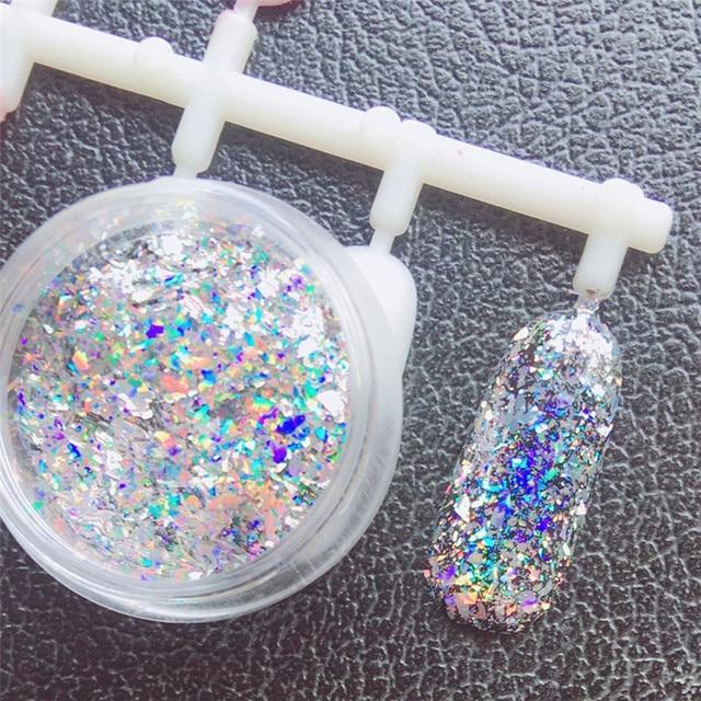 2017 # decoración de uñas espejo de aluminio escamas espejo mágico efecto lentejuelas uñas DIY
