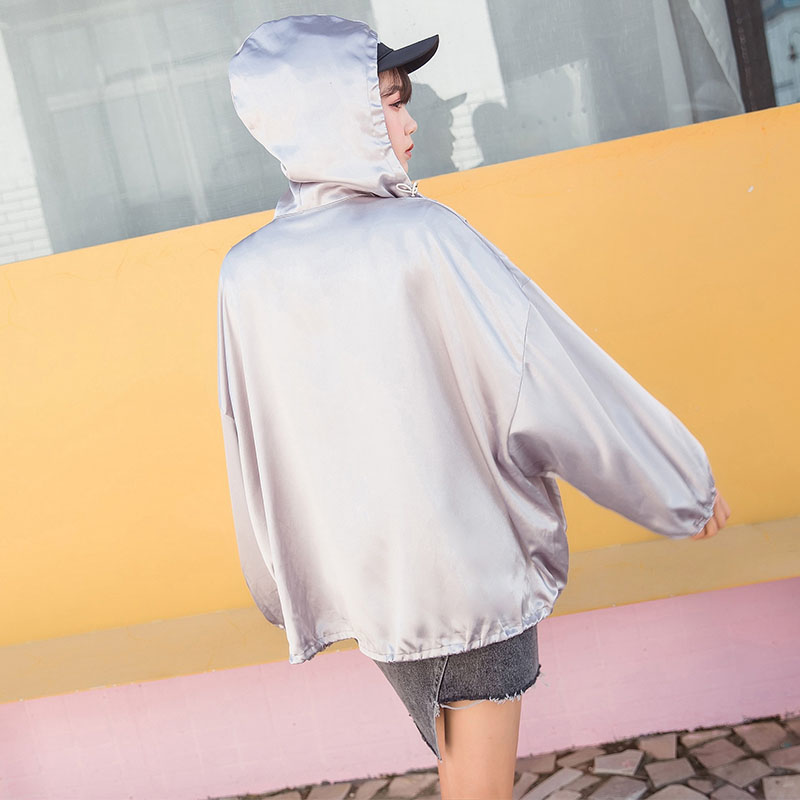 Fashion street Silver silk coat zipper winter hooded autumn hip hop female batwing sleeve   basic     jacket   woman tops kpop oversized