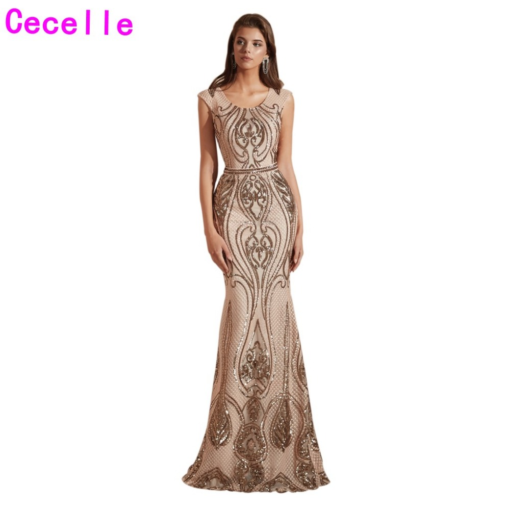 2019 New Champage Sequins Mermaid Long   Evening     Dresses   Sleeved Sparkly Women Elegant   Evening   Party Wear Special Occasion   Dress