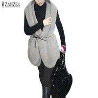 ZANZEA Autumn Winter Womem Waistcoat 2016 Ladies Lapel Neck Sleeveless Pockets Vests Outwear Casual Solid Slim