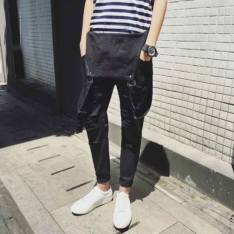 184a40faa13e 2017 Mens Bib Overalls Black White Autumn Spring Ripped Skinny Overalls Men  One Piece Jumpsuits With Holes-in Harem Pants from Men s Clothing on ...