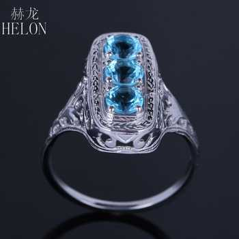 HELON Solid 10k White Gold Three Stone Round Cut 1.4ct Genuine Blue Topaz Vintage Antique Art Deco Engagement Fine Jewelry Ring