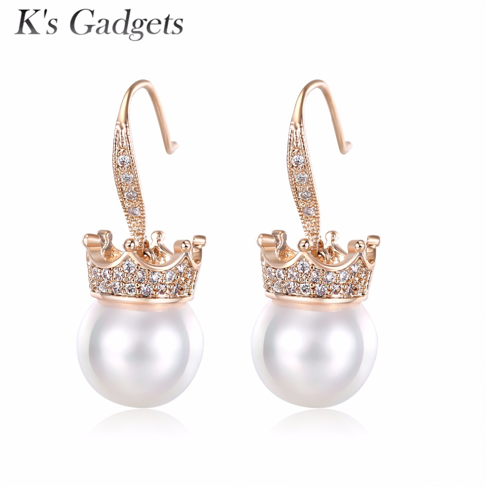 Crown Natural Shell Pearl Earrings Fashion Rose Gold And Silver Color Round  Hook Drop Earring Women