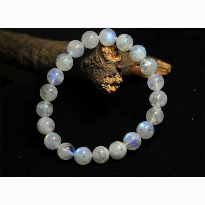 Discount Wholesale Natural Genuine Rainbow Moonstone Stretch Bracelet Round Beads Crystal 6-14mm 02835