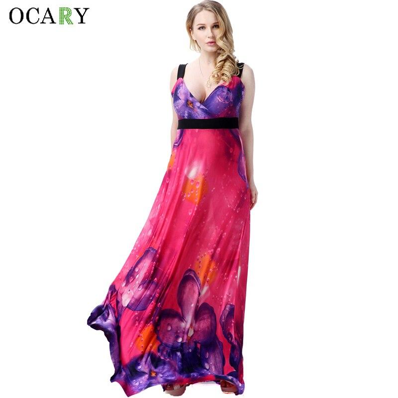 d3cd732f3fa11 7XL زائد كبيرة حجم اللباس للنساء عارية الذراعين شاطئ اللباس الإناث الأزهار  فستان الشمس بوهو ماكسي فساتين الصيف Vestidos رداء Ete