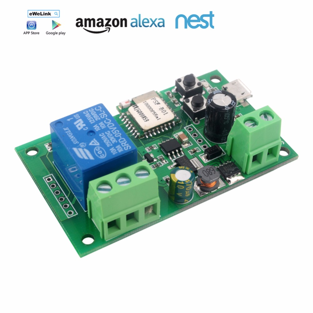 1 Channel 5V 12V Inching/Self-locking WiFi Wireless Switch PSF, APP Remote Control Module for Smart Home, Suport Amazon Alexa sonoff for ios android usb 5v diy 1 channel jog inching self locking wifi wireless smart home switch app remote control module