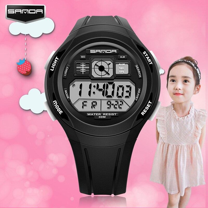 SANDA Wristwatches Children Digital Colorful Sports Waterproof Kids for Multifunctional