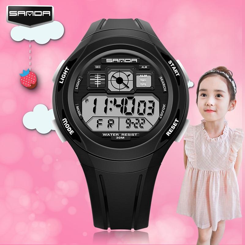 SANDA Watch For Kids Children Digital Multifunctional Waterproof Wristwatches Sports Waterproof  Colorful Girls Watches Kids