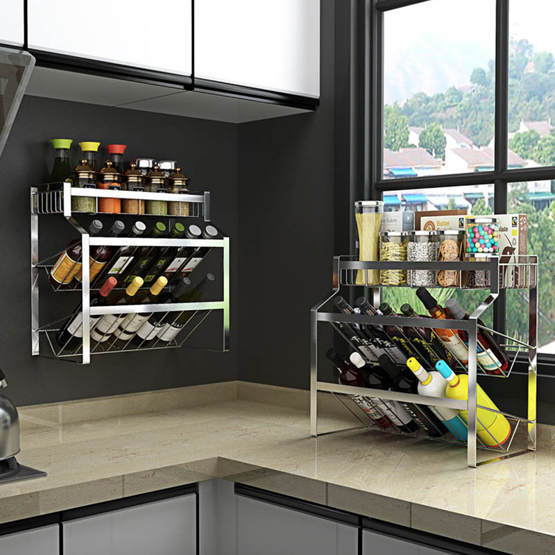 <font><b>SUS</b></font> <font><b>304</b></font> Stainless Steel Kitchen Rack, Seasoning Shelf 3 layers Both Can Floor And Wall Mounted image