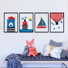 Northern Europe sailor Simple modern wallsticker Living room bedroom Background 3d acrylic DIY wall sticker