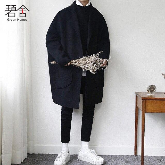 S-5XL! 2018 зима новый корейский издание молодежи длинные волосы пальто мужские свободные шерсть ткань пальто