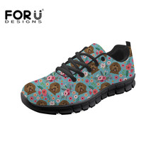 FORUDESIGNS Black Labrador Prints Women Vulcanize Shoes Lace Up Female Leisure Girls Woman Walking Trainers Sneakers