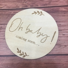 1PCS oh baby coming soon laser cut wood card milestone cards for pregnancy announcement цена 2017