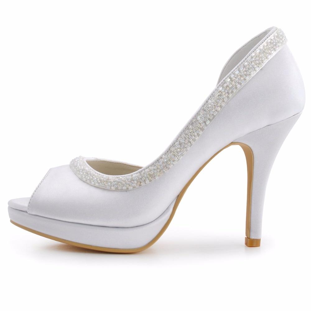 19d134991d0b0 Blanc 4 Peep Mariée Chaussures White En Satin