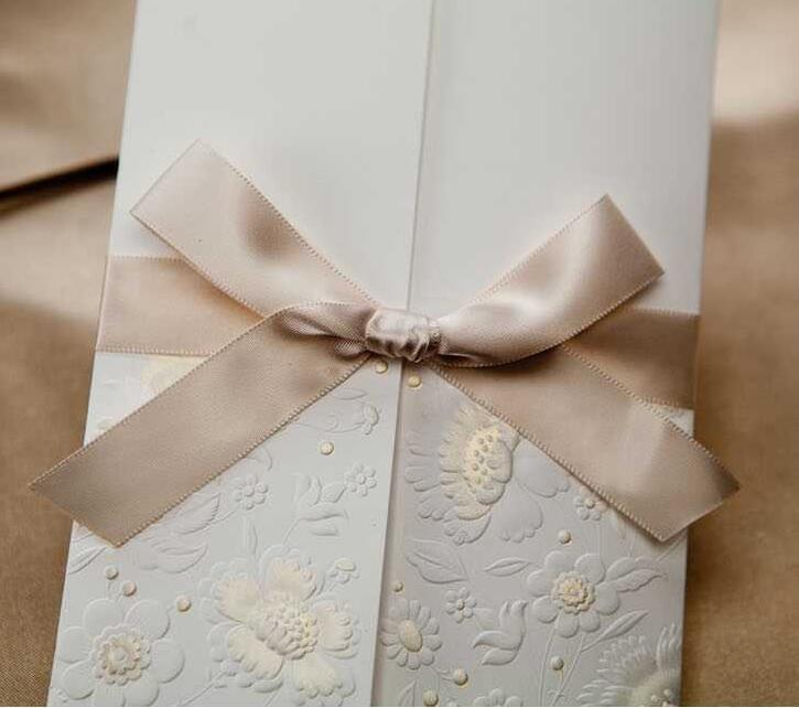 Aliexpress Ivory Wedding Invitations With Ribbon Bow Free Personalized Customized Printing Cards W1113 From Reliable