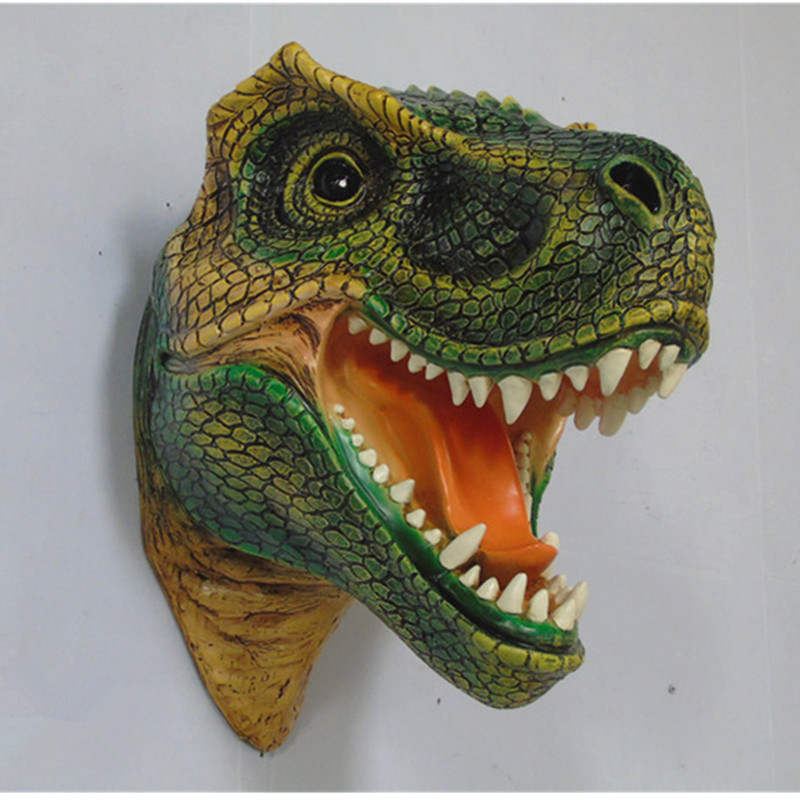 A Large Dinosaur Head Wall Mural Simulation Resin Crafts Home Furnishing Club KTV Soft Outfit Design The Statue Dinosaur R1662