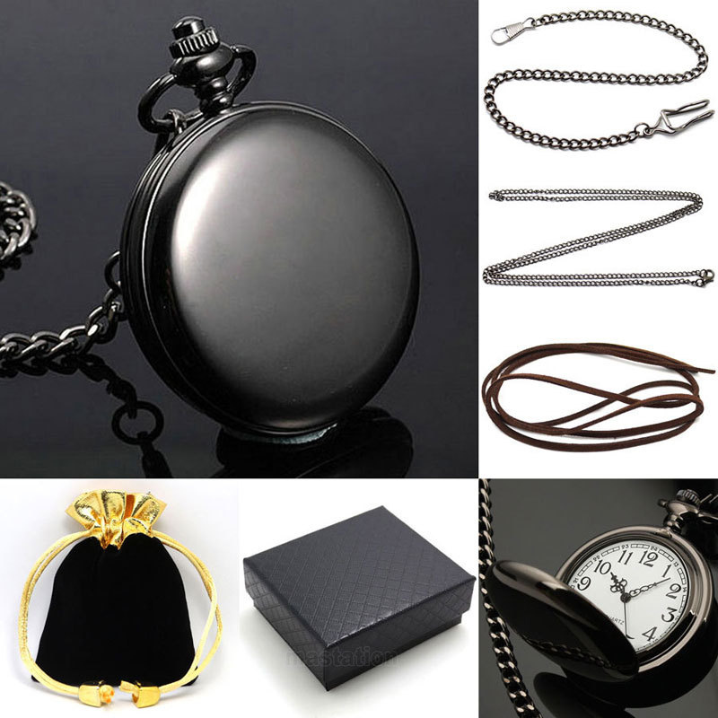 Black Smooth Face Quartz Pocket Watch Metal Necklace Leather Chain Box Bag Gift Relogio De Bolso P200CKWB unique smooth case pocket watch mechanical automatic watches with pendant chain necklace men women gift relogio de bolso