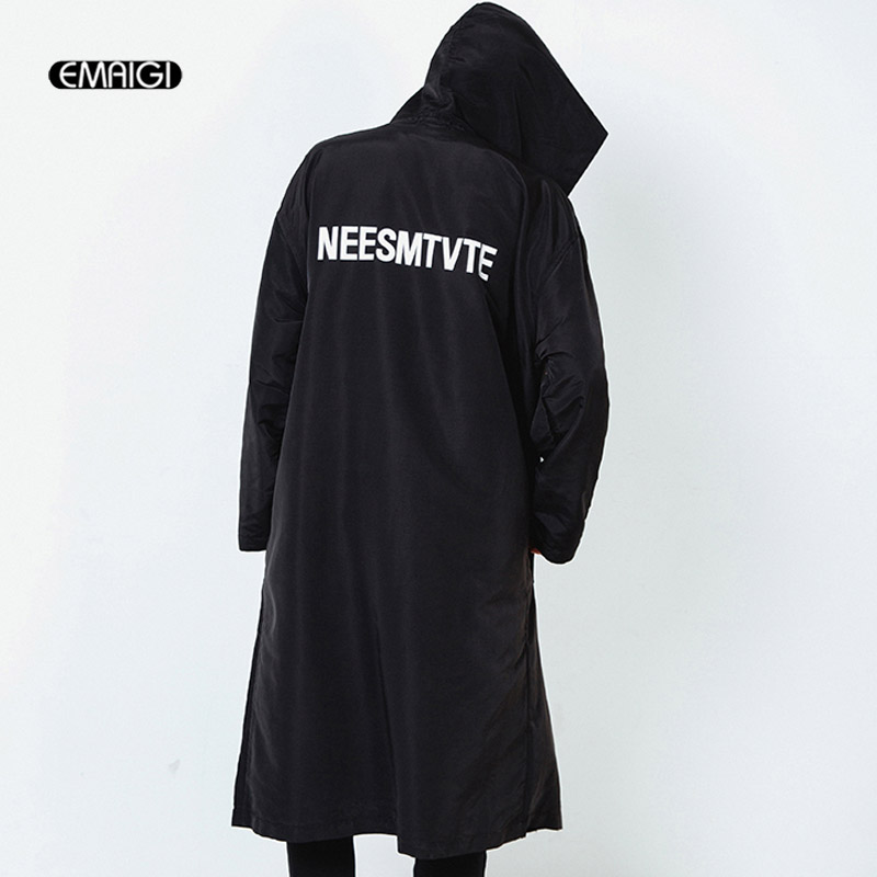Street Fashion Hiphop Jacket Men Trench Coat Long Cardigan Men Women Casual Hooded Windbreaker Jacket