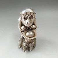 Details about A rare Chinese ancient Tibetan silver carving monkey sculpture