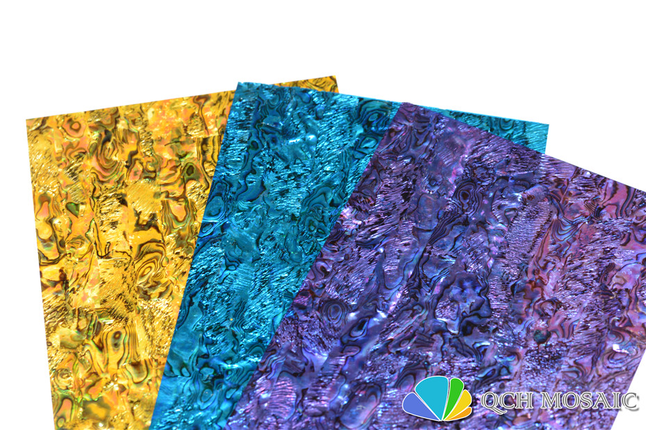 Купить с кэшбэком Dyed yellow New Zealand paua abalone shell laminate sheet for musical instrument and wood inlay qch26