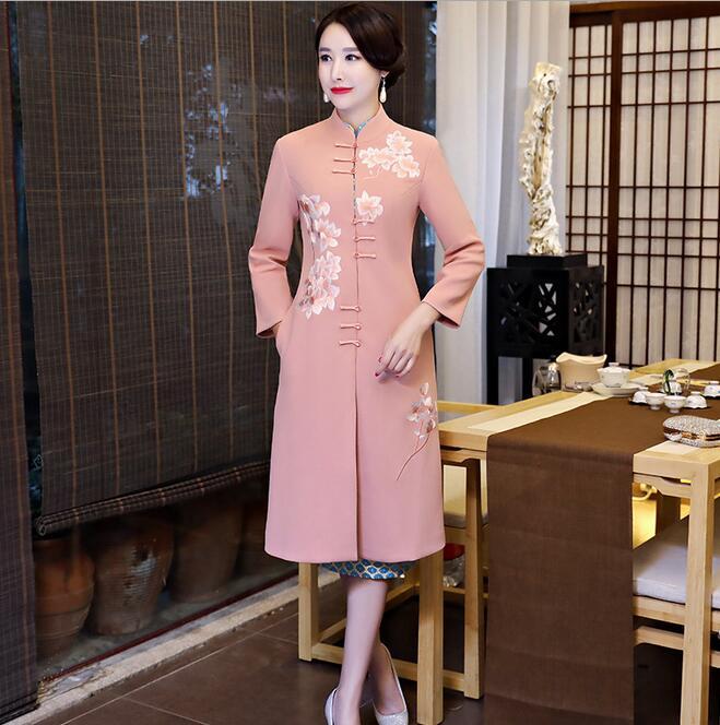 Новое поступление осень зима Китайская традиционная Женская 2 шт Qipao шерсть чеонгсам Новинка китайское торжественное платье Размер M L XL XXL - Цвет: 1899
