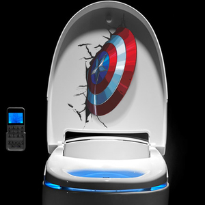 3D Vivid Captain America's Shield Through Wall Stickers Kids Rooms Toilet Decor The Avengers Wall Decals Art PVC Mural Posters(China)